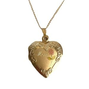 Vintage 14k Gold Filled Heart Locket Mom Necklace